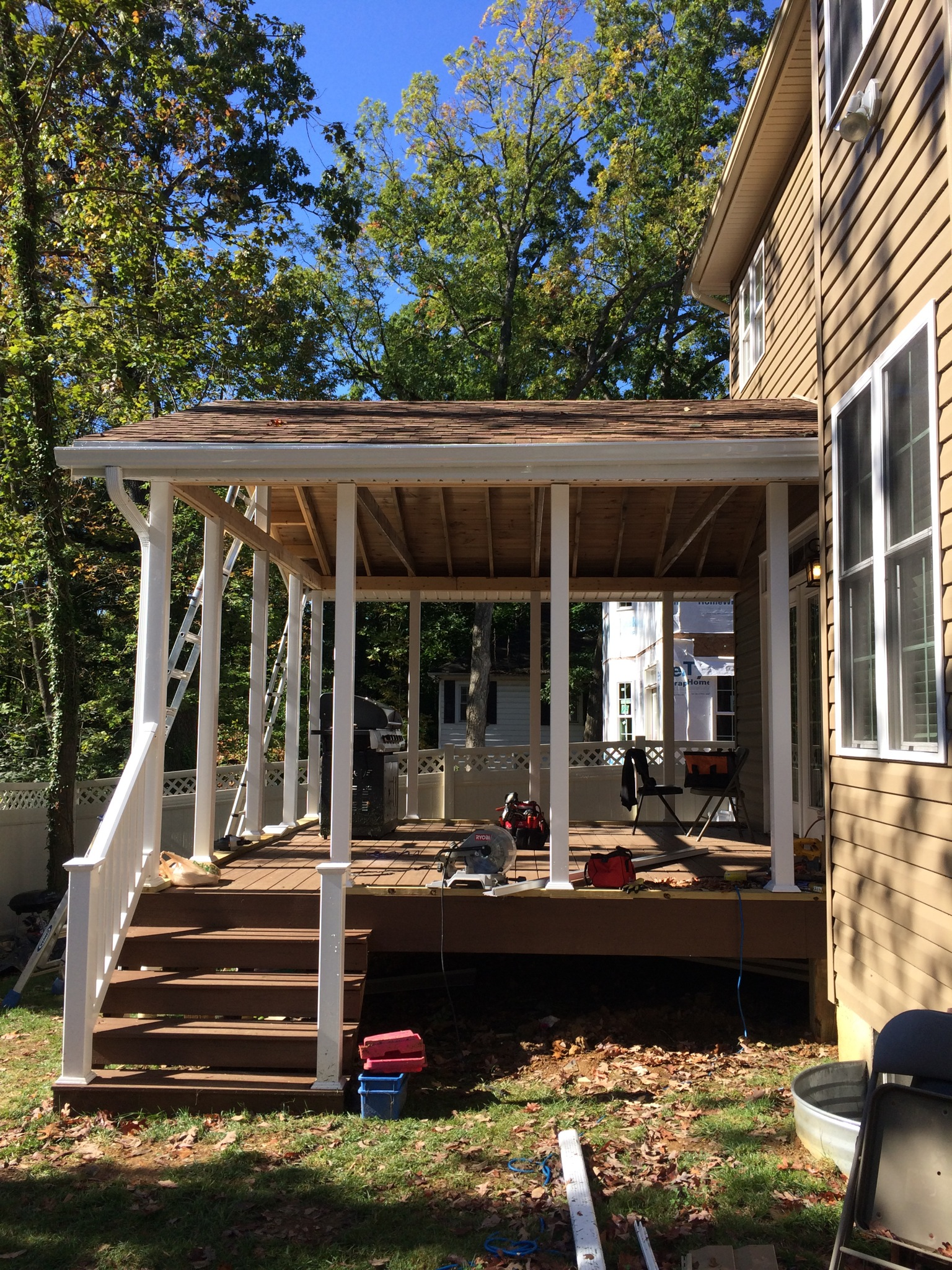 The deck roof, mostly done